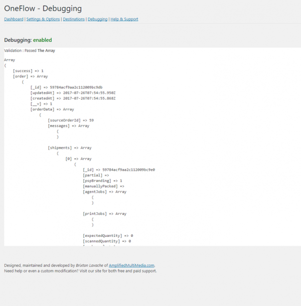 WordPress WooCommerce-OneFlow-API-Plugin-Debugging